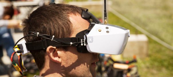 Man Operating A Drone in an FPV Competition